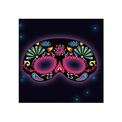 Maska pro dospělé černá s neonovými svítícími prvky.