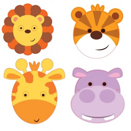 Masky pro děti papírové ve stylu Jungle Animals 8 ks