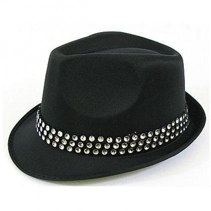Klobouk  dámský s kamínky elegantní v černé barvě.