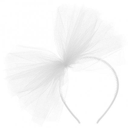 Čelenka bílá s ozdobou z tylu