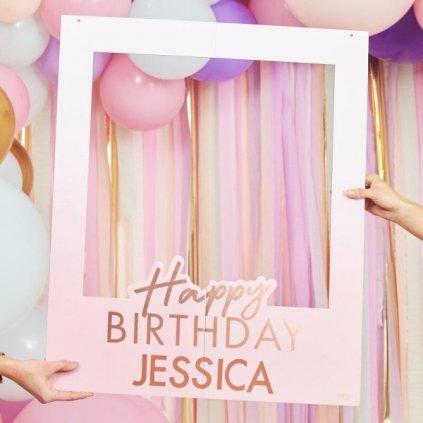 Rámeček na narozeninové fotky s vaším jménem Rosegold