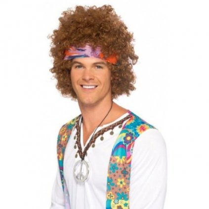 Sada paruka, čelenka a přívěšek styl Hippie Afro