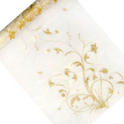 Organza se zlatým květinovým potiskem 9m