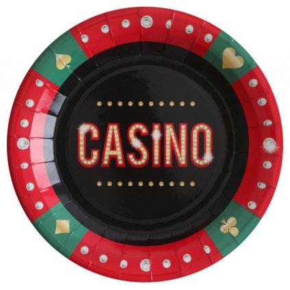 Talíře červenozelené s nápisem Casino 10ks