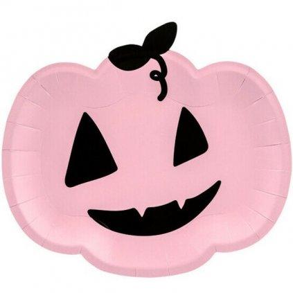 Talíře Pink Halloween dýně 6ks