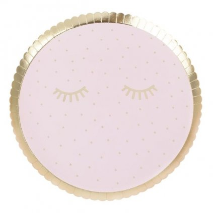 Talíře Spící oči růžové 8ks