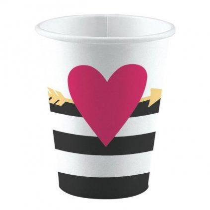 Kelímky se srdcem a šípem Love 8ks