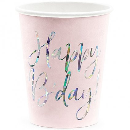 Kelímky narozeninové Prosecco růžové 6ks