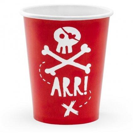 Kelímky Pirát červené s lebkou