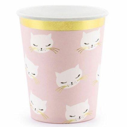 Kelímky Kočka růžové 6ks