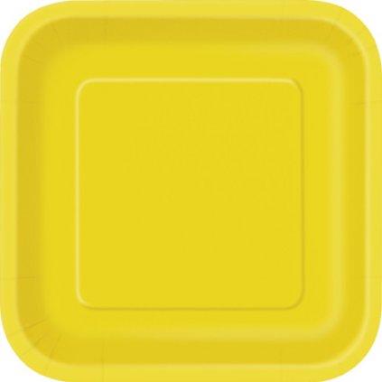Talíře papírové žluté čtvercové 23x23cm 14ks