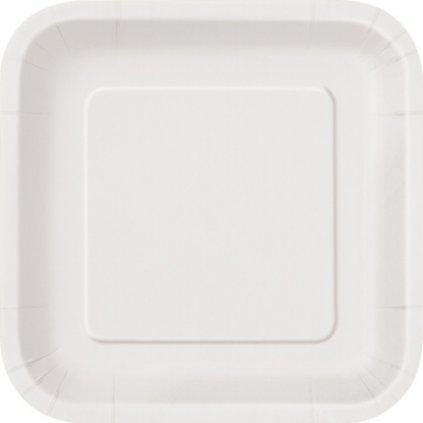 Talíře papírové bílé čtvercové 23x23cm 14ks
