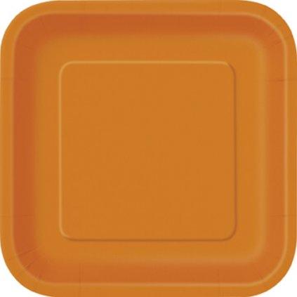 Talíře papírové Pumpkin Orange čtvercové 23x23cm 14ks