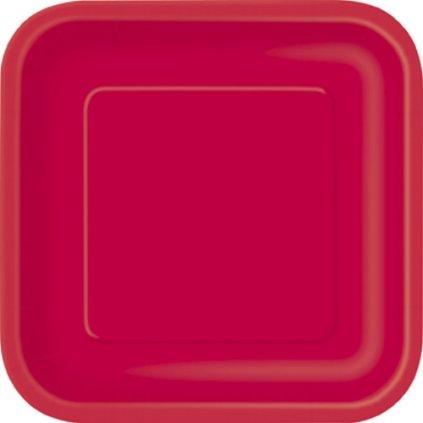 Talíře papírové Ruby Red čtvercové 23x23cm 14ks