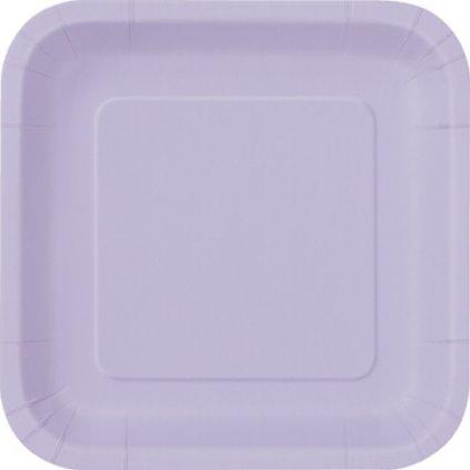 Talíře papírové Lavender čtvercové 23x23cm 14ks
