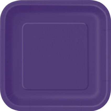 Talíře papírové Deep Purple čtvercové 23x23cm 14ks