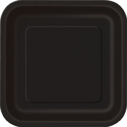 Talíře papírové černé čtvercové 23x23cm 14ks