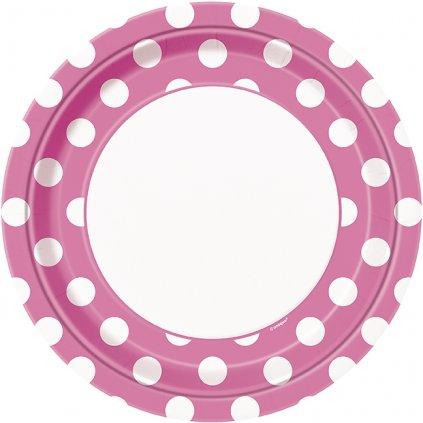 Talíře růžové s puntíky 22cm 8ks