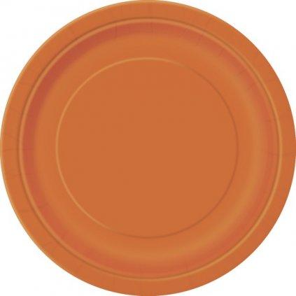Talíře papírové oranžové kulaté 22cm 8ks