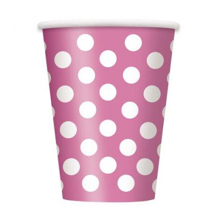 Kelímky růžové s puntíky 320ml 6ks