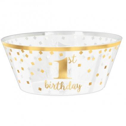 Miska narozeninová 1 rok se zlatem 1ks