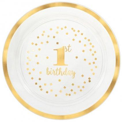 Talíř narozenový 1 rok se zlatem 1ks