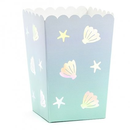 Krabičky na popcorn Narwhal 7x7x12,5cm 6ks
