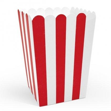 Krabičky na popcorn červené pruhy 7x7x125cm 6ks