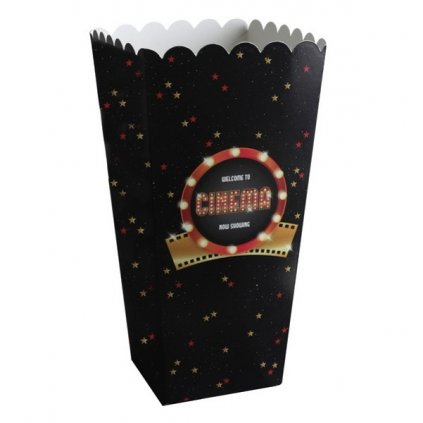 Krabičky na popcort Hollywood 6x6x17cm 8ks