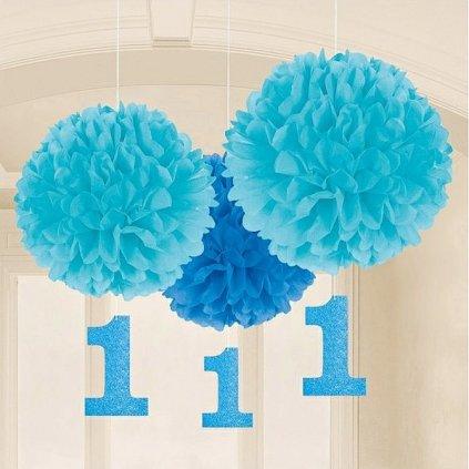 DEKORACE PomPom 1.narozeniny modrá 3ks