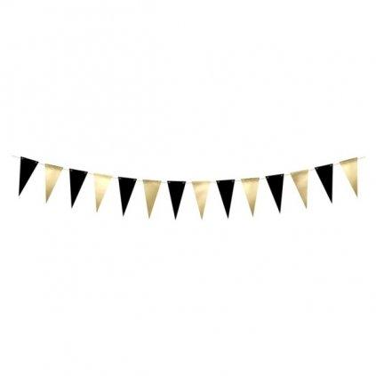 Girlanda černozlaté vlaječky 215cm