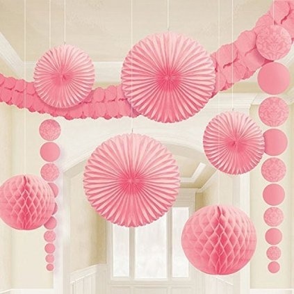 Zavesny set ruzova papirove dekorace