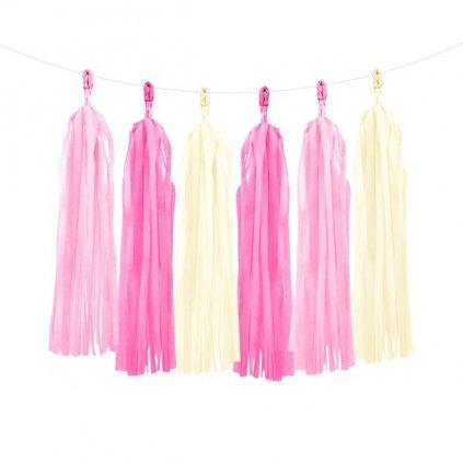 Girlanda růžové střapce 150cm