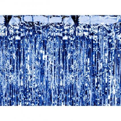 Závěs fóliový metalicky modrý, šíře 2,5m