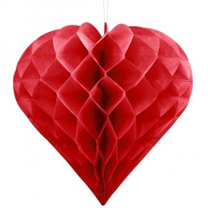 DEKORACE závěná Srdce červené 30cm