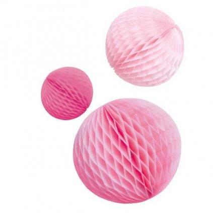 Dekorační koule Honeycomb růžová 3ks