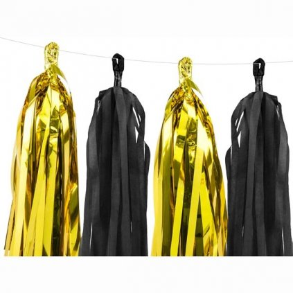 Girlanda zlato-černé třásně 150cm