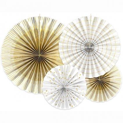 Rozeta dekorační bílé/zlatý dekor 4ks