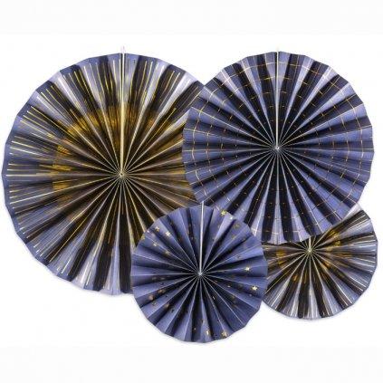 Rozeta dekorační modré/zlatý dekor 4ks
