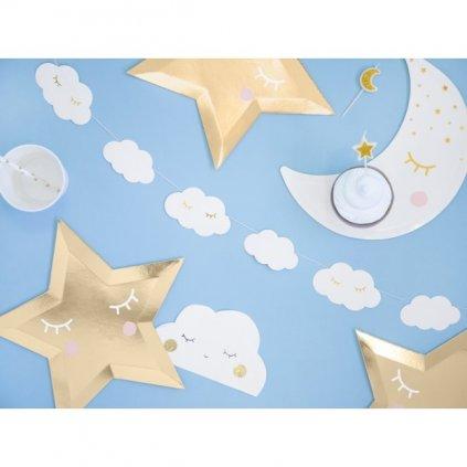 Girlanda papírová bílé mráčky Little Star 1,45m
