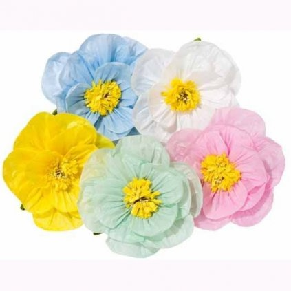 DEKORACE papírová květina pastelový mix 6ks