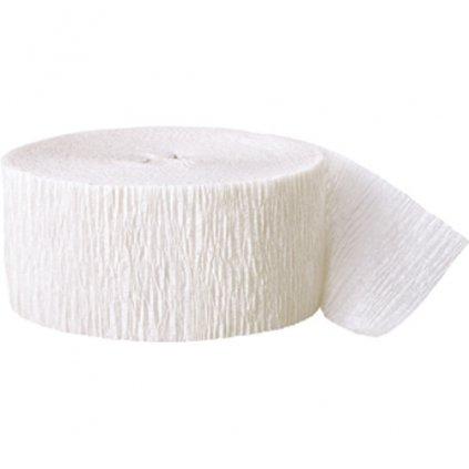 Serpentýna z krepového papíru  bílá