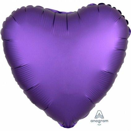 Balonek srdce  foliové fialové 43cm
