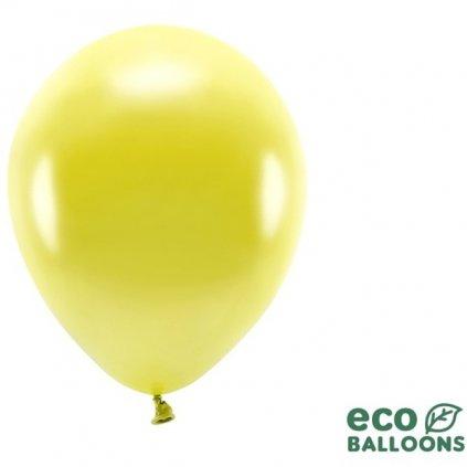 BALÓNKY ECO metalické žluté 26cm 100ks