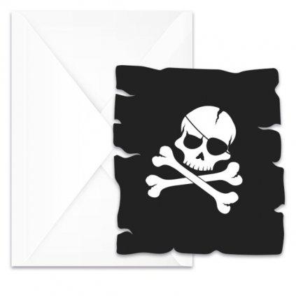 Pozvánky na oslavu Pirátská lebka 6ks