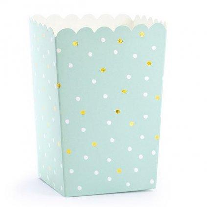 Krabičky na popcorn mint 7x7x12,5cm 6ks