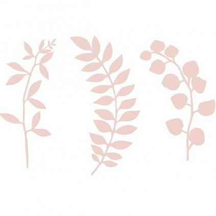 Dekorace na stůl pudrově růžové větvičky s lístky 9ks