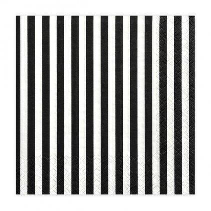 Ubrousky papírové proužky černé 33x33cm  16ks