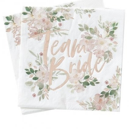 Ubrousky papírové Team Bride květiny 16x16cm 16ks