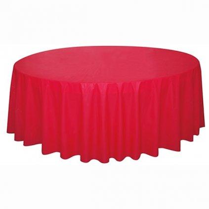 Ubrus plastový červený pro kulatý stůl 210cm